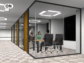 デザイン性を重視した「アルミ+ガラスパーテーション」